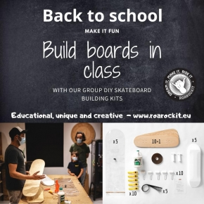 It's back to school season 👩🏫👨🏫 ⠀ Why not use board building as a fun and creative way to teach and learn a wide range of different subjects, whilst encouraging teamwork, developing manual skills and having a great time whilst doing so 🤗 ⠀ ⠀ Our Multi-pack kits for groups include everything you need to get you started!⠀ ⠀ #boardbuilding #teaching #backtoschool #schoolprojects #educational #creative #groupprojects #diy #handmade #teamwork #activities #workshops #atelier #cours #pedagogique #teacher #diyskateboard #coursdeskate #teacherprojects #education #skateboard #roarockitskateboardeurope